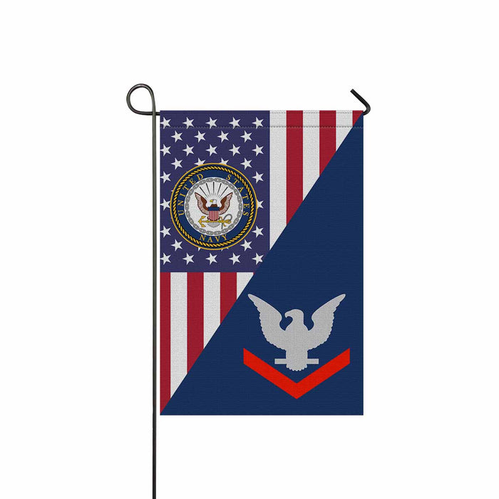 US Navy E-4 Petty Officer Third Class E4 PO3 Collar Device Garden Flag 12'' x 18'' Twin-Side Printing