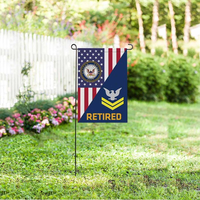 US Navy E-5 Petty Officer Second Class E5 PO2 Gold Stripe Collar Device Retired Garden Flag 12'' x 18'' Twin-Side Printing