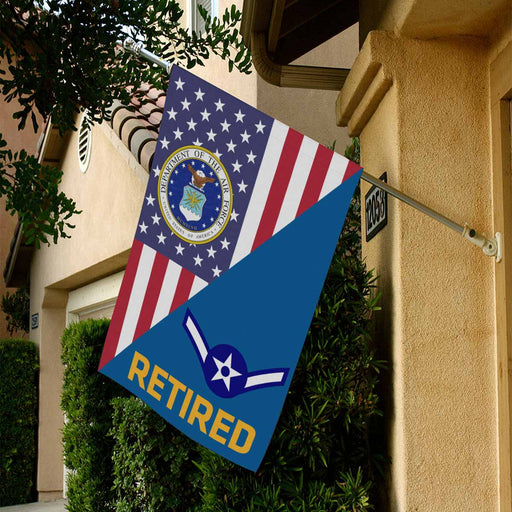US Air Force E-2 Airman Amn E2 s Enlisted Airman  Retired House Flag 28 Inch x 40 Inch Twin-Side Printing