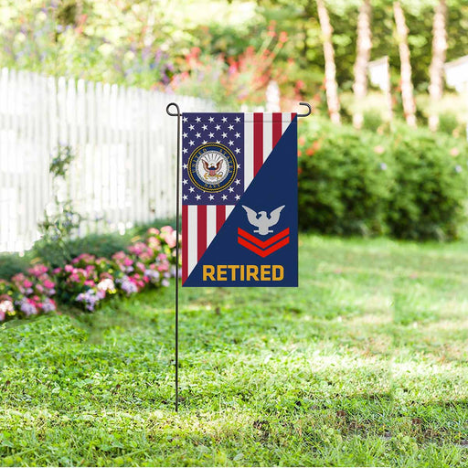 US Navy E-5 Petty Officer Second Class E5 PO2 Collar Device Retired Garden Flag 12'' x 18'' Twin-Side Printing