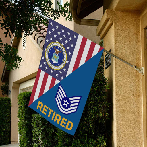 US Air Force E-6 Technical Sergeant TSgt E6 Noncommissioned Officer s  Retired House Flag 28 Inch x 40 Inch Twin-Side Printing