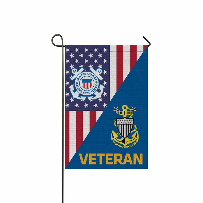 US Coast Guard E-9 Master Chief Petty Officer E9 MCPO Senior Noncommissioned Officer Collar Device Veteran Garden Flag 12'' x 18'' Twin-Side Printing