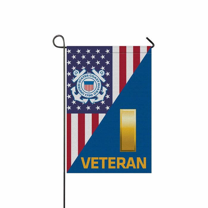 US Coast Guard O-1 Ensign O1 ENS Junior Officer Ranks Veteran  Garden Flag 12'' x 18'' Twin-Side Printing