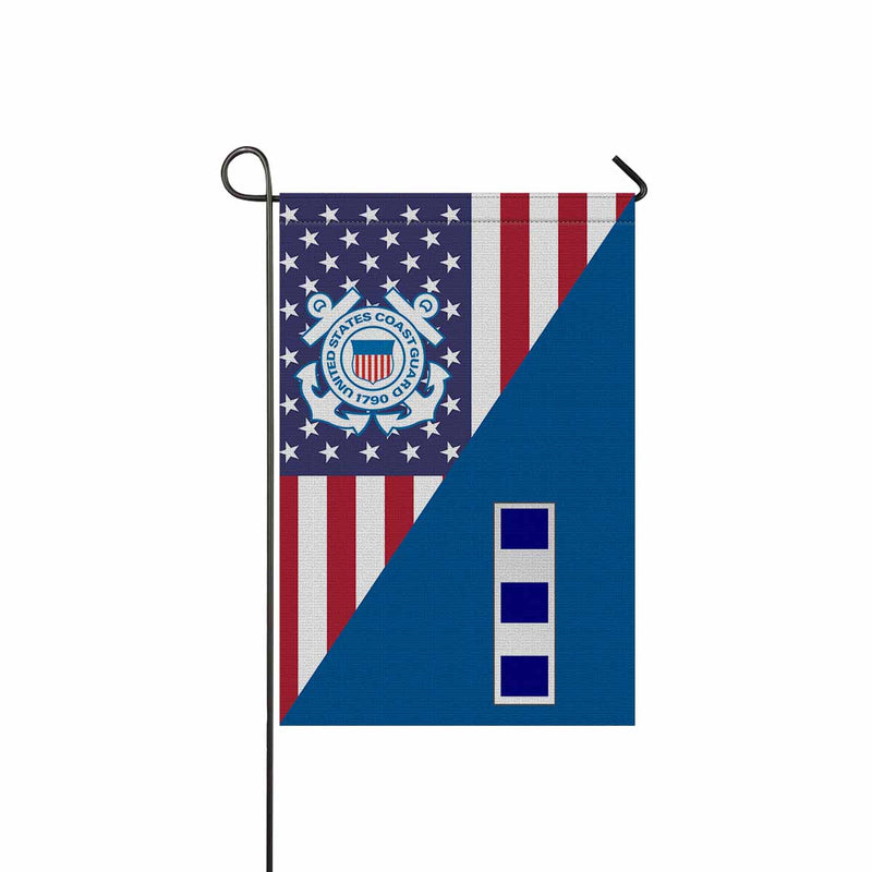 US Coast Guard W-4 Chief Warrant Officer 4 W4 CWO-4 Chief Warrant Officer Garden Flag 12'' x 18'' Twin-Side Printing