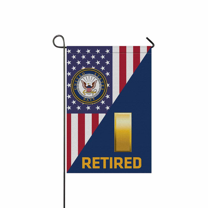 US Navy O-1 Ensign O1 ENS Junior Officer Retired Garden Flag 12'' x 18'' Twin-Side Printing