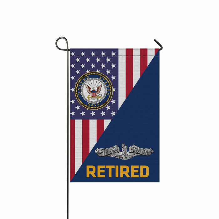 US Navy Submarine Enlisted Retired Garden Flag 12'' x 18'' Twin-Side Printing
