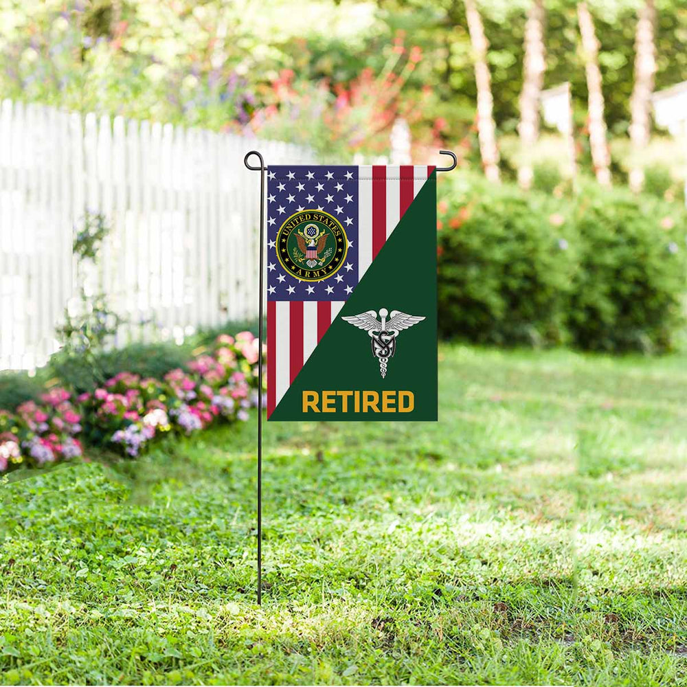 US Army Medical Service Corps Retired Garden Flag 12 Inch x 18 Inch Twin-Side Printing