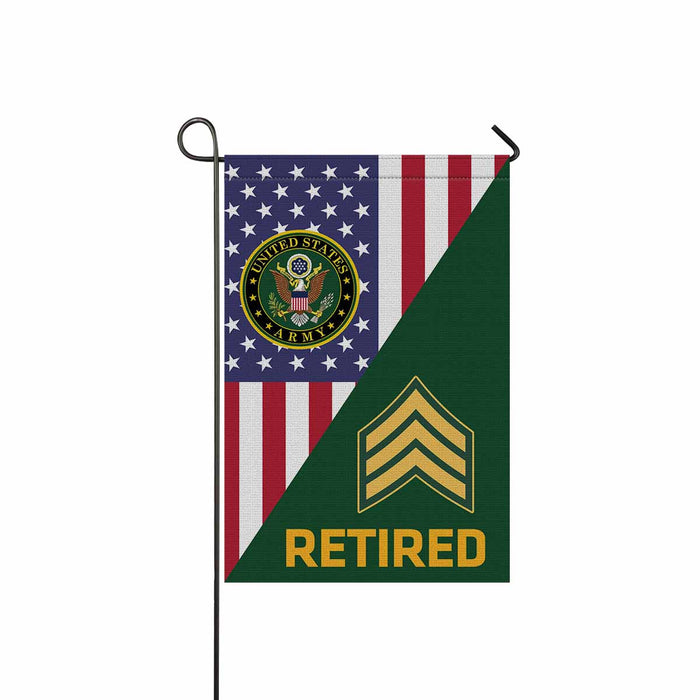 US Army E-5 Sergeant E5 SGT Noncommissioned Officer Retired Garden Flag 12'' x 18'' Twin-Side Printing