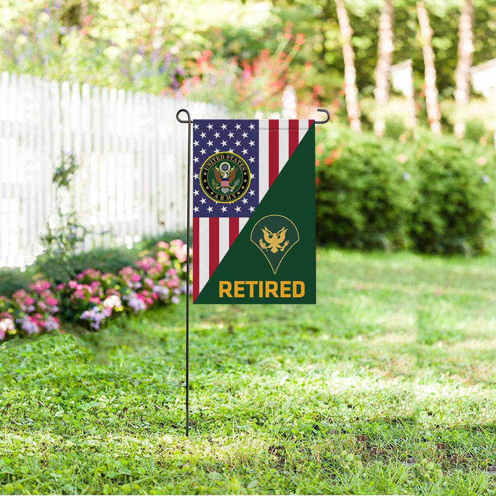 US Army E-4 SPC E4 SP4 Specialist 4 Specialist 3rd Class Retired Garden Flag 12'' x 18'' Twin-Side Printing