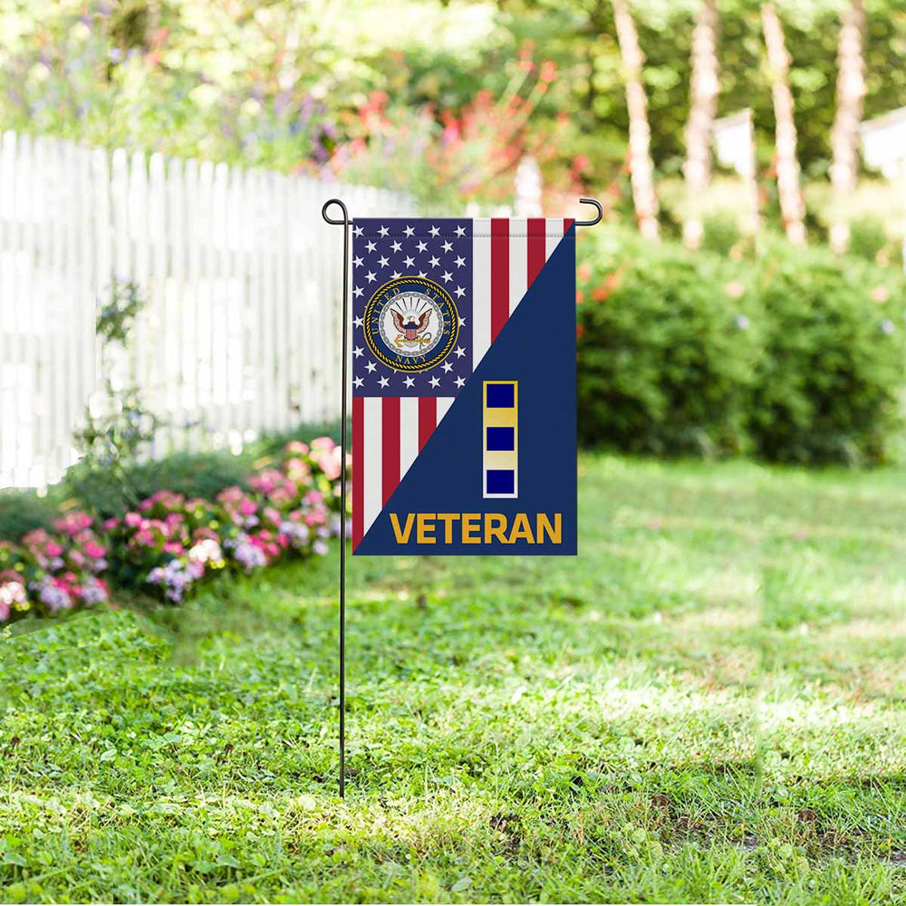 US Navy W-2 Chief Warrant Officer 2 W2 CW2 Warrant Officer Veteran Garden Flag 12'' x 18'' Twin-Side Printing