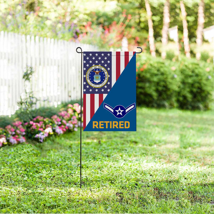 US Air Force E-2 Airman Amn E2 Enlisted Airman Retired Garden Flag 12'' x 18'' Twin-Side Printing