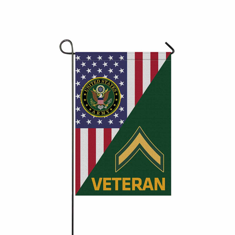 US Army E-2 Private Second Class E2 PV2 Enlisted Soldier Veteran Garden Flag 12'' x 18'' Twin-Side Printing