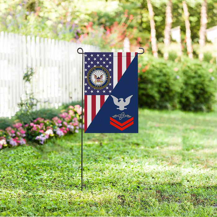 "Navy Aviation Electronics Technician Navy AT E-5 Red Stripe  Garden Flag 12"" x 18"""