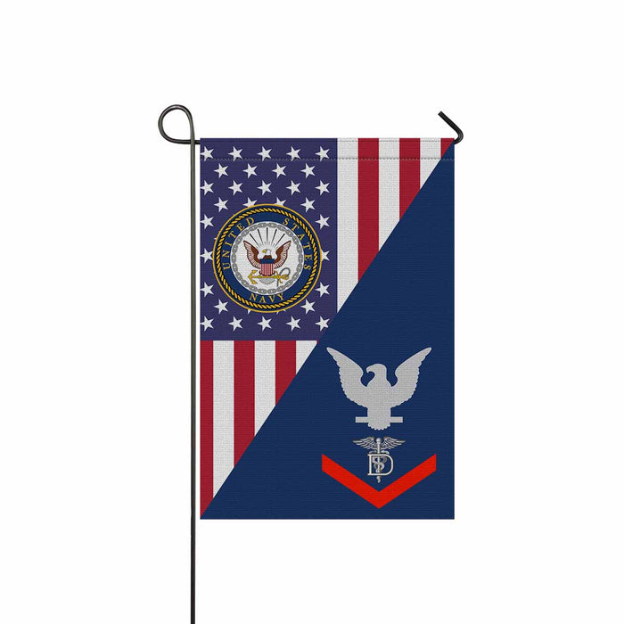 "Navy Dental Technician Navy DT E-4  Garden Flag 12"" x 18"""