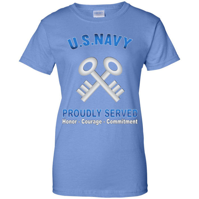 U.S Navy Logistics specialist Navy LS Proudly Served Core Values Ladies' T-Shirt