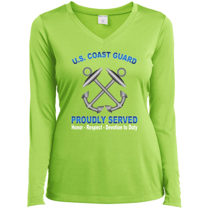 US Coast Guard Boatswains Mate BM Proudly Served Sport-Tek Ladies' LS Performance V-Neck T-Shirt