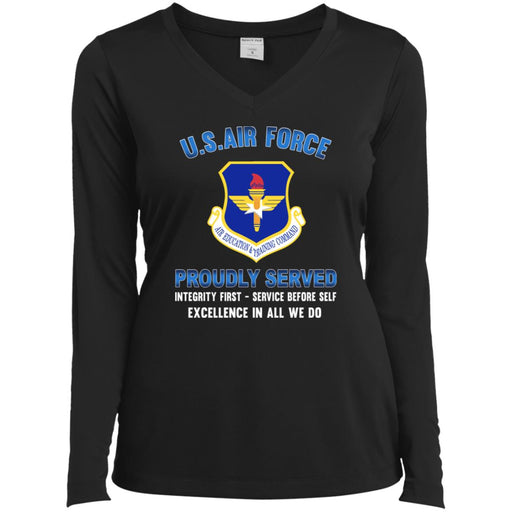 US Air Force Air Education and Training Command Proudly Served Sport-Tek Ladies' LS Performance V-Neck T-Shirt
