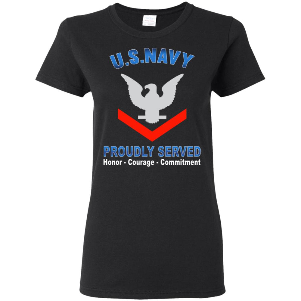 US Navy E-4 Petty Officer Third Class E4 PO3 Collar Device Proudly Served Ladies' T-Shirt