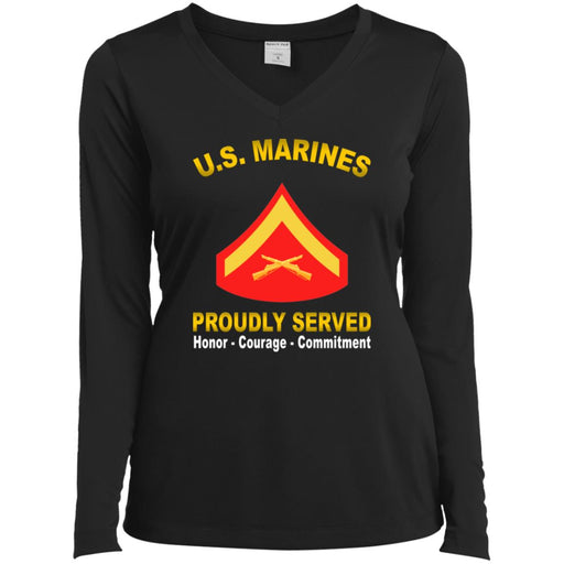 USMC E-3 Lance Corporal E3 LCpl  Proudly Served Sport-Tek Ladies' LS Performance V-Neck T-Shirt