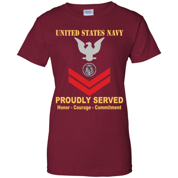 US Navy Religious Program Specialist Navy RP E-5 PO2 Petty Officer Second Class Ladies' T-Shirt