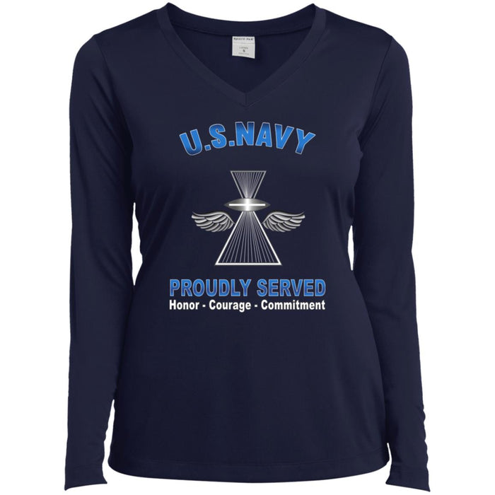 U.S Navy Photographer's Mate Navy PH Proudly Served Core Values Sport-Tek Ladies' LS Performance V-Neck T-Shirt