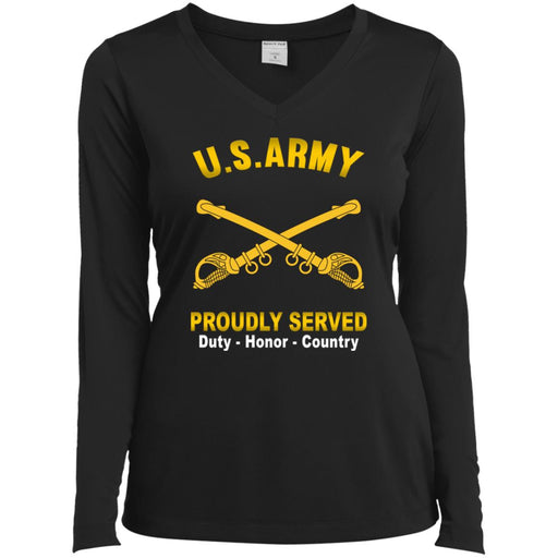 US Army Cavalry Proudly Served Sport-Tek Ladies' LS Performance V-Neck T-Shirt