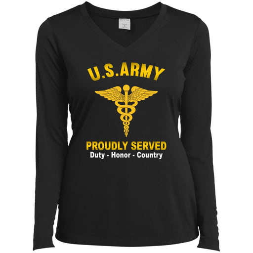 US Army Medical Corps Proudly Served Sport-Tek Ladies' LS Performance V-Neck T-Shirt