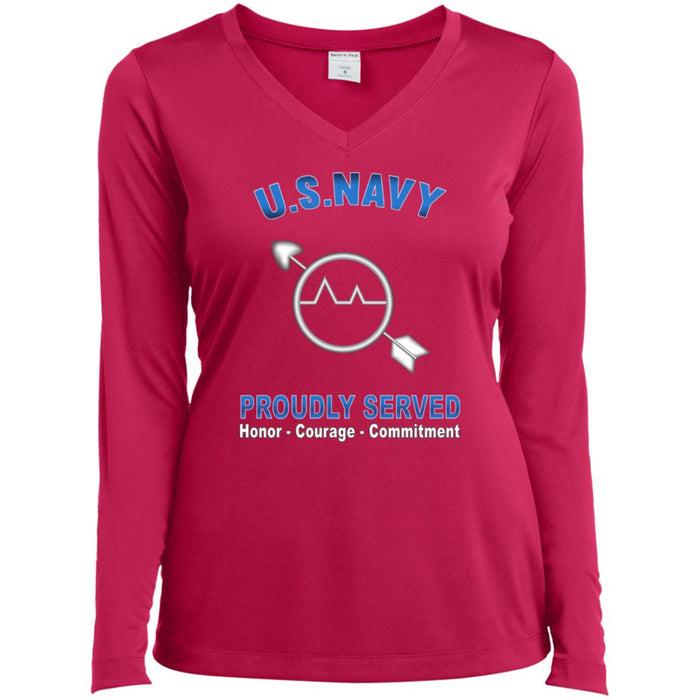 U.S Navy Operations specialist Navy OS Proudly Served Core Values Sport-Tek Ladies' LS Performance V-Neck T-Shirt