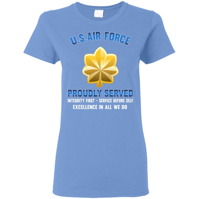 US Air Force O-4 Major Maj O4 Field Officer Proudly Served Ladies' T-Shirt