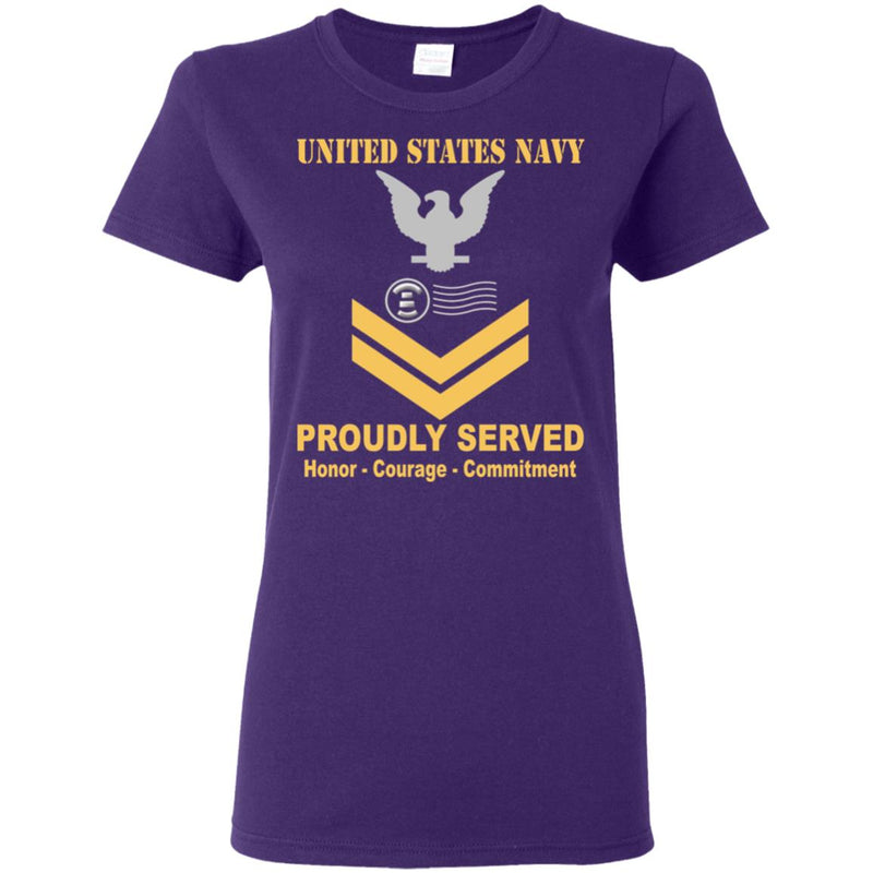 US Navy Postal Clerk Navy PC E-5 Gold Stripe PO2 Petty Officer Second Class Ladies' T-Shirt