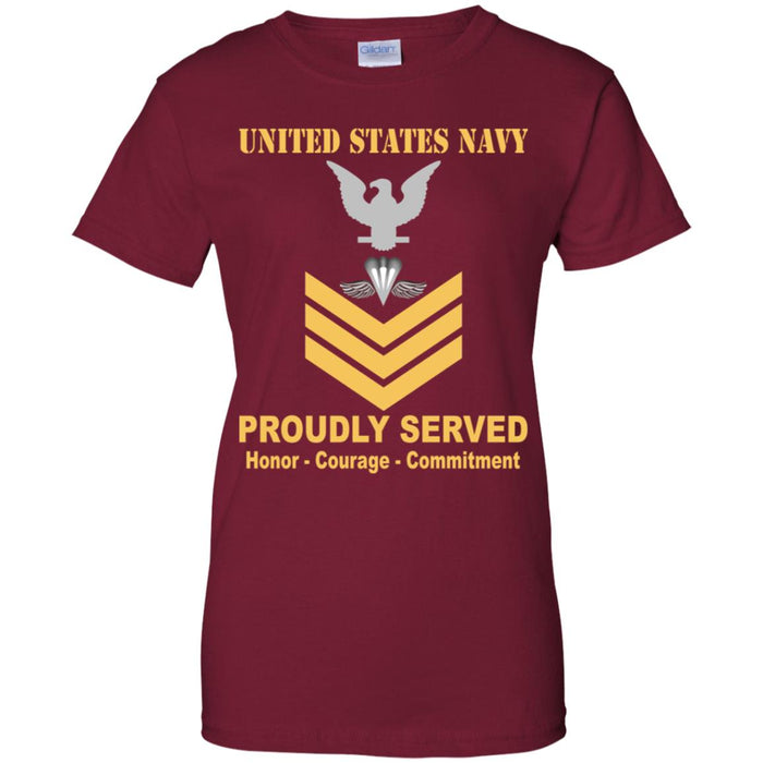 US Navy Aircrew Survival Equipmentman Navy PR E-6 Gold Stripe PO1 Petty Officer First Class Ladies' T-Shirt