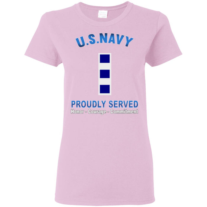 US Navy W-4 Chief Warrant Officer 4 W4 CW4 Warrant Officer Proudly Served Ladies' T-Shirt