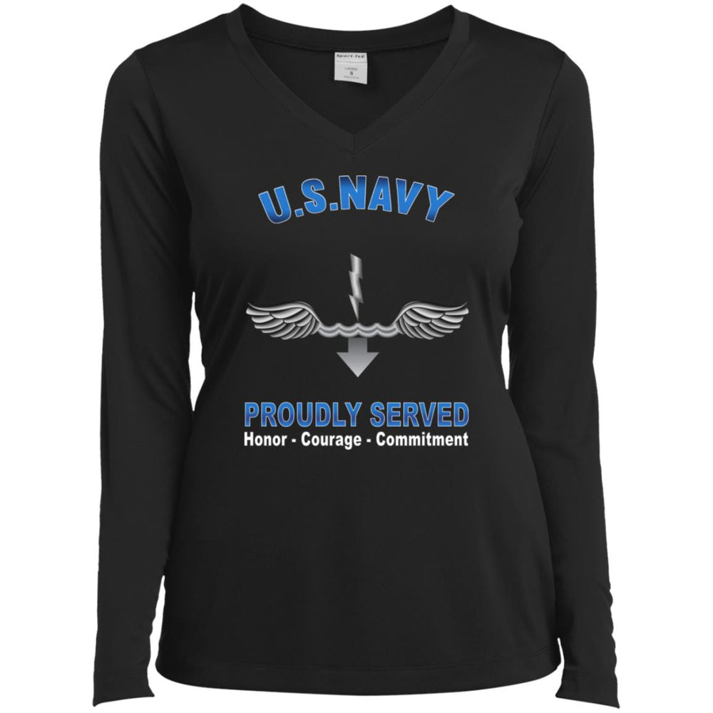 US Navy Antisubmarine Warfare Technician Navy AX Proudly Served Core Values Sport-Tek Ladies' LS Performance V-Neck T-Shirt