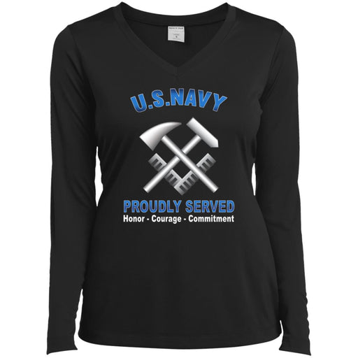 US Navy Hull Maintenance Technician Navy HT Proudly Served Core Values Sport-Tek Ladies' LS Performance V-Neck T-Shirt