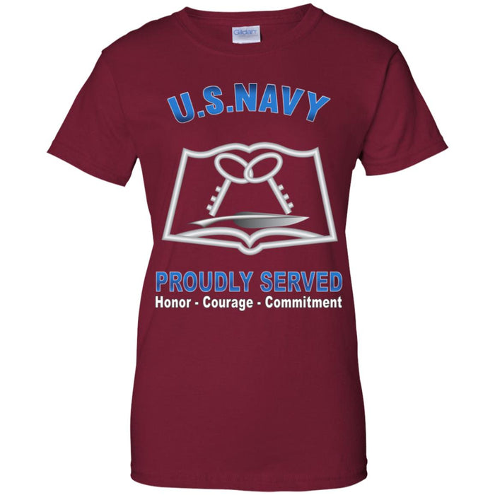 US Navy Culinary Specialist Navy CS Proudly Served Core Values Ladies' T-Shirt