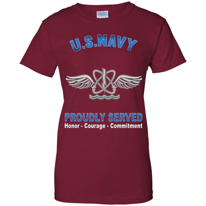 U.S Navy Naval aircrewman Navy AW Proudly Served Core Values Ladies' T-Shirt