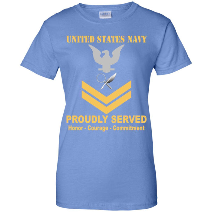 US Navy Intelligence Specialist Navy IS E-5 Gold Stripe PO2 Petty Officer Second Class Ladies' T-Shirt
