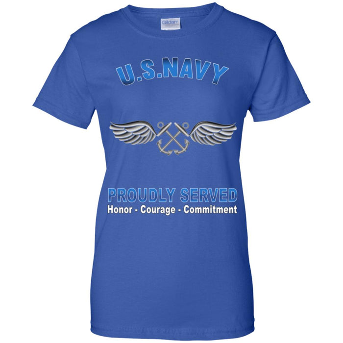 U.S Navy Aviation Boatswain's Mate Navy AB Proudly Served Core Values Ladies' T-Shirt