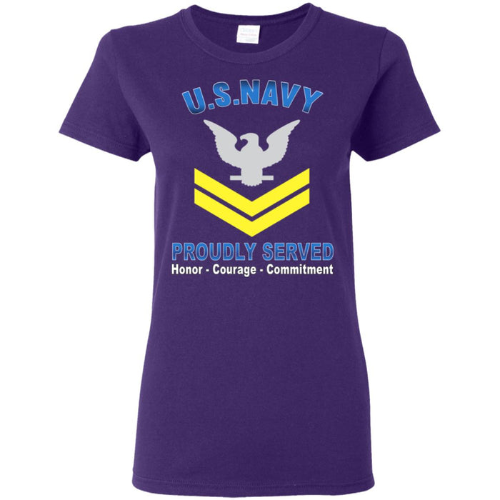 US Navy E-5 Petty Officer Second Class E5 PO2 Gold Stripe Collar Device Proudly Served Ladies' T-Shirt
