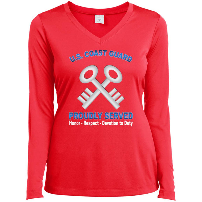 US Coast Guard Storekeeper SK Proudly Served Sport-Tek Ladies' LS Performance V-Neck T-Shirt