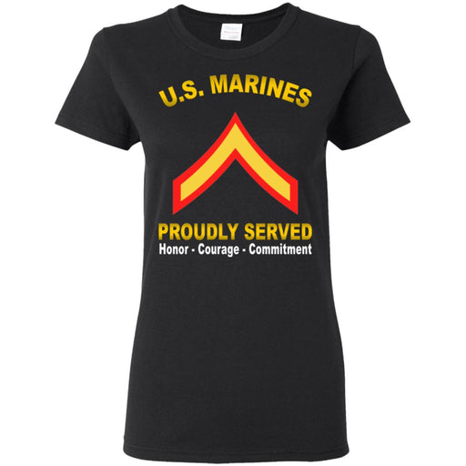 USMC E-2 Private First Class E2 PFC  Proudly Served Ladies' T-Shirt