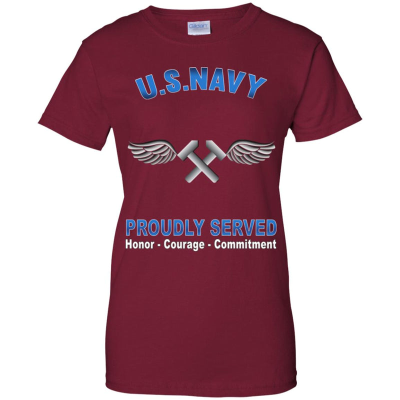 US Navy Aviation Structural Mechanic Navy AM Proudly Served Core Values Ladies' T-Shirt
