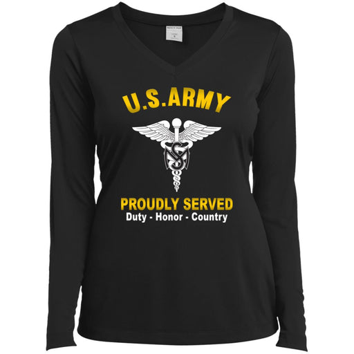 US Army Medical Service Corps Proudly Served Sport-Tek Ladies' LS Performance V-Neck T-Shirt