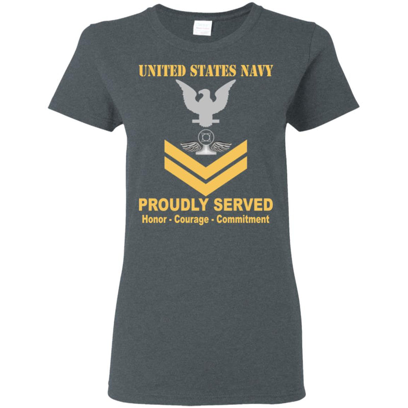 US Navy Air Traffic Controller Navy AC E-5 Gold Stripe PO2 Petty Officer Second Class Ladies' T-Shirt