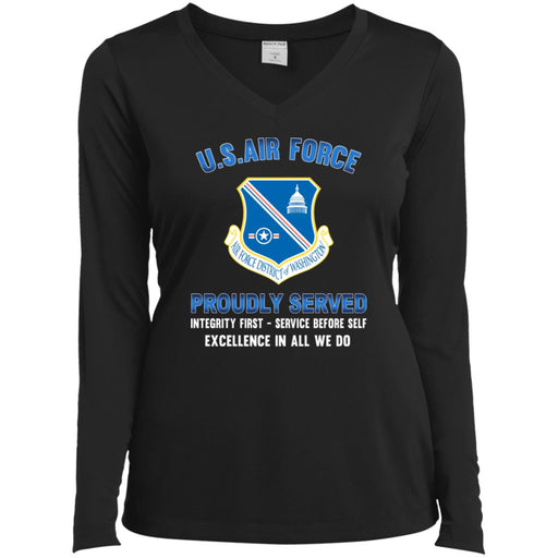 US Air Force District of Washington Proudly Served Sport-Tek Ladies' LS Performance V-Neck T-Shirt