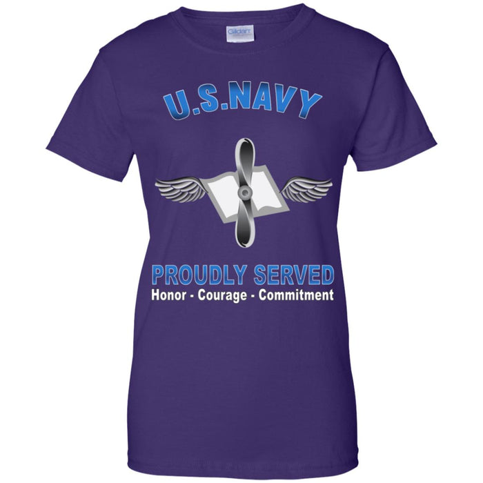 US Navy Aviation Maintenance Administrationman Navy AZ Proudly Served Core Values Ladies' T-Shirt