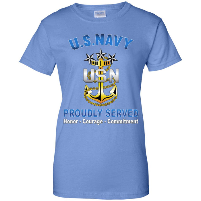 US Navy E-9 Master Chief Petty Officer Of The Navy E9 MCPON Senior Enlisted Advisor Collar Device Proudly Served Ladies' T-Shirt