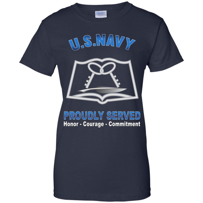 US Navy Mess Management Specialist Navy MS Proudly Served Core Values Ladies' T-Shirt