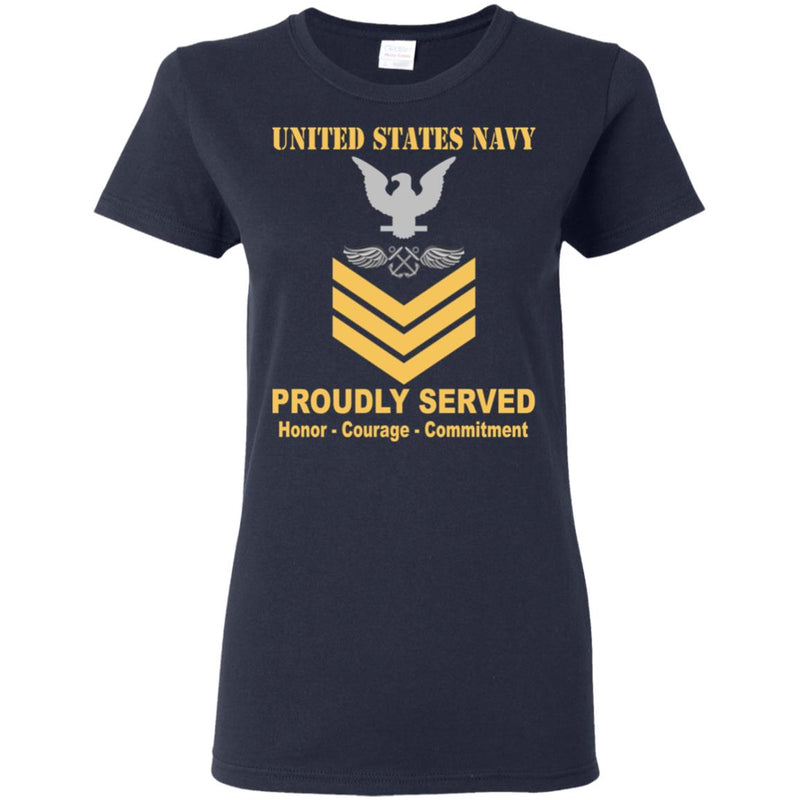 US Navy Aviation Boatswain's Mate Navy AB E-6 Gold Stripe PO1 Petty Officer First Class Ladies' T-Shirt