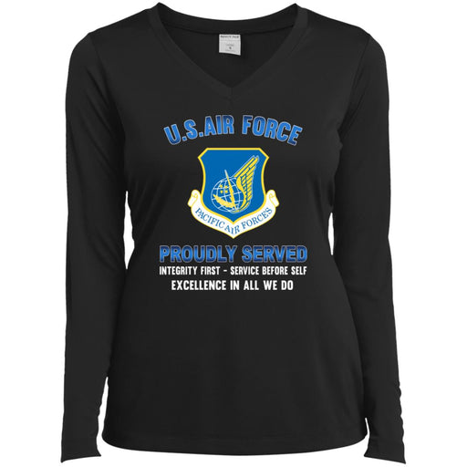 US Air Force Pacific Air Forces Proudly Served Sport-Tek Ladies' LS Performance V-Neck T-Shirt